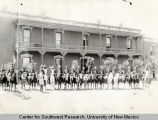 Outdoor group portrait of members of the Albuquerque Volunteer Cavalry Company