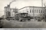 Electric streetcar at corner of First St. and Central Ave.