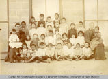 Pupils in Mexican Department of Albuquerque Academy. 1894. Library Building.