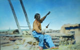 Hopi Pueblo man spinning wool