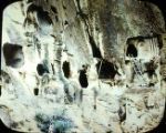 Cliff dwellings in Frijoles Canyon, Bandelier National Monument, NM