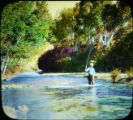 Man trout fishing in the Pecos River, Pecos, NM