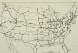 Photograph of unidentified map of the United States showing interstates across America