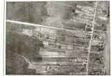Aerial photograph of acequia farming pattern against wooded edge