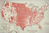 "Photograph of United States map depicting ""Land in Farms: 1964"" with insets of Alaska..."