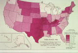 "Photograph of map showing ""Farm Ponds: 1964"" showing farms with ponds as a percent of..."
