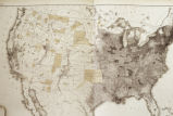 Photograph of unidentified map of the United States depicting major drainage ways and population...