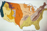 "Photograph of map showing broad scale ""Physiographic Regions"" (geomorphic regions)..."