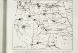Photograph of an outline map showing the Western half of the United States, showing the location...
