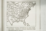 Photograph of map from unidentified book showing natural distribution of the chestnut tree within...