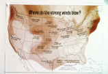 "Photograph of United States map showing ""Where do the strong winds blow?"" Map..."