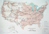 "Photograph of United States map showing settlement and transportation ""compiled from..."