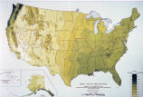 "Photograph of United States map depicting ""Mean Annual Precipitation"" across the US..."
