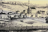 Photograph of drawing showing small village