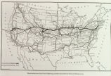 Photograph of United States map showing route map of the Lincoln Highway and transcontinental...