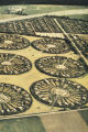 "Aerial photograph of radial settlement patterns in cultivated field, labeled as ""African..."