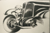 Photo of a drawling of an old style car front end