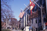 College campus building with flags