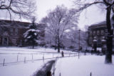 Snow-covered campus