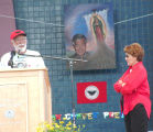 Eduardo Hernandez Chavez and Ysaura Bernal-Enríquez at 2006 Cesar Chavez Day, Albuquerque, NM