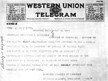 Telegram to Governor O. A. Larrazolo from San Diego Chamber of Commerce President Melville Klauber
