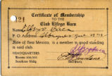 Certificate of Membership to the Club Elfego Baca