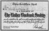 Luther Burbank Society membership card