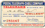Postal Telegraph-Cable Company, telegram card