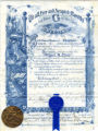 Certificate of initiation of Miguel A. Otero as Master Mason