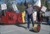 Protestor with drum at the Big Mountain Defense March