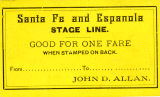 Santa Fe and Espanola Stage Line Ticket