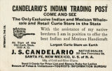 Candelario's Indian Trading Post Business Card, 1920