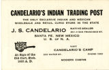 Candelario's Indian Trading Post Business Card, 1930