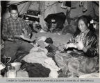 Navajo Man and Woman Making Yarn