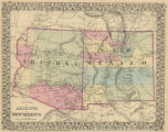 County Map of Arizona and New Mexico