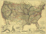Map of the United States, Showing Routes of Principal Explorers and Early Roads and Highways, 1937