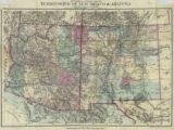Topographical & Township Map of the Territories of New Mexico and Arizona