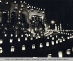 Typical Albuquerque House with luminaries lit up