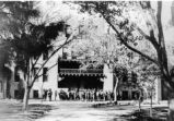 Hodgin Hall - exterior - soldiers milling about, circa World War I