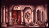 Hamlet - set design for play - watercolor painting