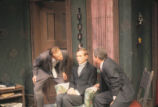 The Birthday Party - scene from play - Stanley, seated, with Goldberg and McCann