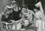 Falstaff - scene from opera - title character in basket