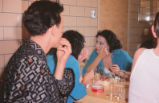 Gianni Schicchi - backstage - actors putting on make-up