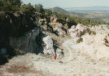 Harding Pegmatite field trip - woman and mine entrance