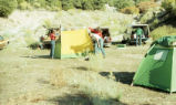 Harding Pegmatite mine - field trip - three women pitching tents