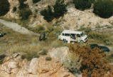 Harding Pegmatite field trip - white van and dark green car