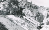 Harding Pegmatite mine - two miners with cart and mule