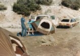 Harding Pegmatite field trip - two men pitching a tent