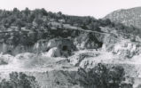Harding Pegmatite mine - long shot of mine entrance with mule
