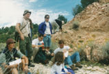 Harding Pegmatite field trip - group of students and little girl